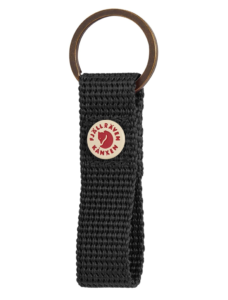 Practical keyring with a loop of the webbing Metal rivet with Kånken logo Solid color Fabric type: 100% Polypropylene