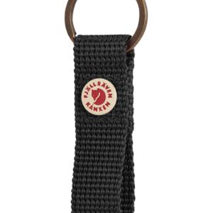 Practical keyring with a loop of the webbing Metal rivet with Kånken logo Solid color Fabric type: 100% Polypropylene